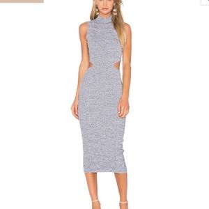 SUNO Melange Bodycon Cutout Dress